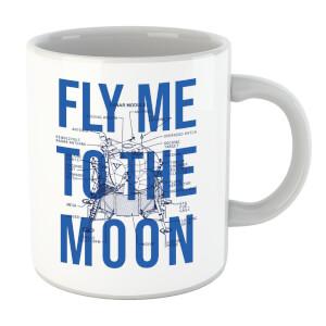 Fly Me To The Moon Blue Print Mug
