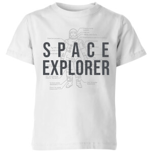 Space Explorer Schematic Kids' T-Shirt - White