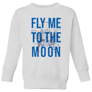 Fly Me To The Moon Blue Print Kids' Sweatshirt - White