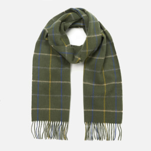 Barbour Men's Tattersall Lambswool Scarf - Dark Green