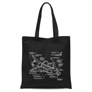 Shuttle Schematic Tote Bag - Black