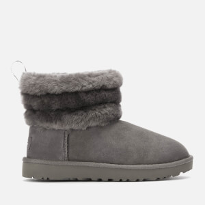 UGG Women's Fluff Mini Logo Trim Boots - Charcoal