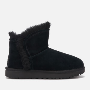 UGG Women's Classic Mini Fluff Trim Sheepskin Boots - Black