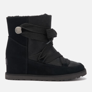 UGG Women's Classic Femme Lace up Wedge Boots - Black