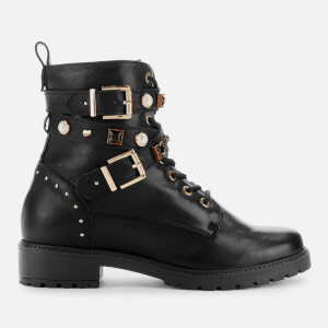 Dune Women's Popular Leather Lace Up Boots - Black