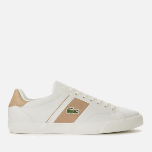 Lacoste Men's Fairlead Leather and Canvas Trainers - Off White/Light Tan