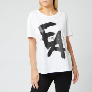 Emporio Armani Women's Graffiti Logo T-Shirt - White