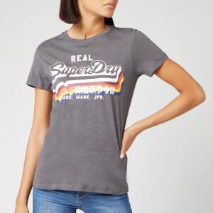 Superdry Women's V Logo Rainbow Entry T-Shirt - Slate Slub