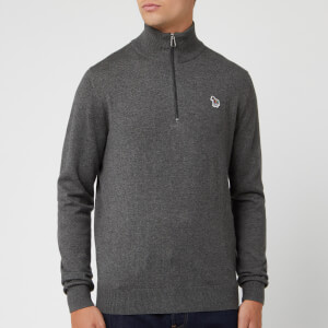 PS Paul Smith Men's Half Zip Funnel Neck Knit Jumper - Grey
