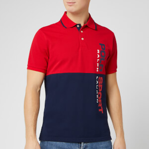 Polo Sport Ralph Lauren Men's Pique Vertical Logo Polo-Shirt - Red/Blue