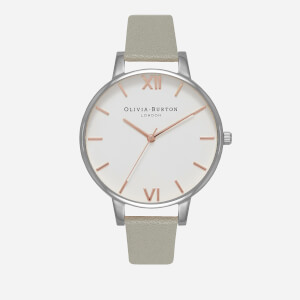 Olivia Burton Women's White Dial Watch - Grey, Silver and Rose Gold