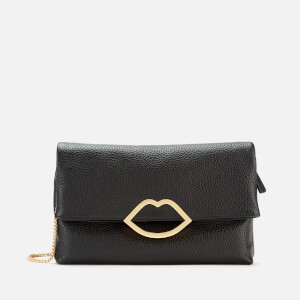 Lulu Guinness Women's Medium Grainy Cut Out Lip Clutch - Black