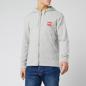 Calvin Klein Men's Full Zip Chest Logo Hoodie - Grey Heather