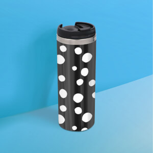 Black White Dots Stainless Steel Travel Mug - Metallic Finish