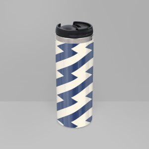 Navy And Nude Zig Zag Pattern Stainless Steel Travel Mug