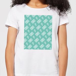 Cassette Tape Pattern Green Women's T-Shirt - White