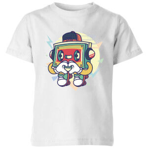 Cassette Tape Love Character Kids' T-Shirt - White