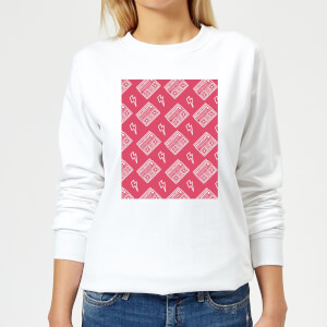 Boombox Pattern Pink Women's Sweatshirt - White
