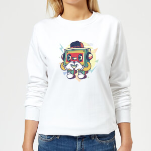 Cassette Tape Love Character Women's Sweatshirt - White