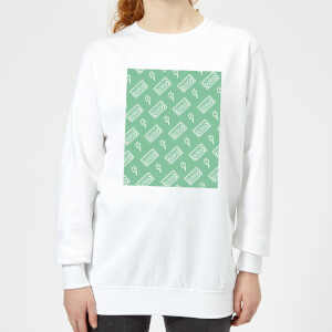 VHS Tape Pattern Green Women's Sweatshirt - White