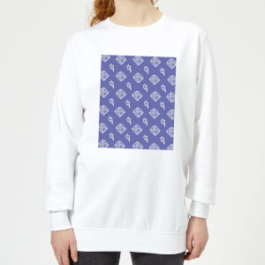 Floppy Disc Pattern Purple Women's Sweatshirt - White