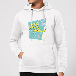 Talk To The Hand Square Patterned Background Hoodie - White