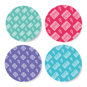 90's Product Pattern Coloured Coaster Circle Coaster Set