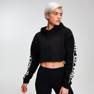 MP Women's Rest Day Logo Cropped Hoodie - Black