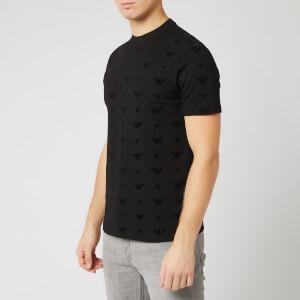 Emporio Armani Men's Allover Logo T-Shirt - Black
