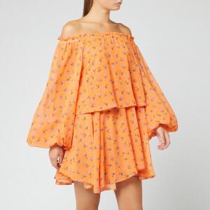 ROTATE Birger Christensen Women's Number 38 Dress - Tiny Rose AOP Carrot Curl Combo