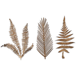 Nkuku Kiko Brass Foliage Artwork - Large - Matt Brass (Set of 3)