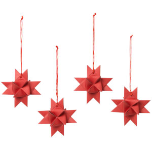 Broste Copenhagen Paper Star Decorations (Set of 4) - Red
