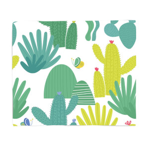 Cactus And Butterfly Fleece Blanket