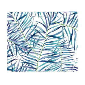 Blue Leaves Fleece Blanket