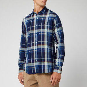 Officine Generale Men's Lipp Stitch Indigo Check Shirt - Indigo/White/Rust