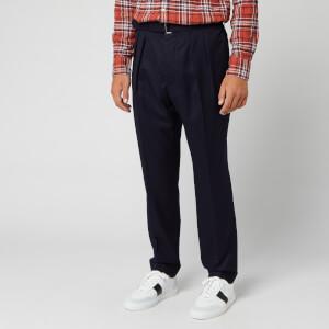 Officine Generale Men's Pierre Double-Pleated Wool-Twill Trousers - Navy