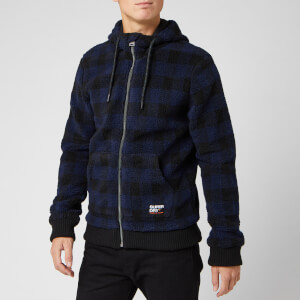Superdry Men's Core Sherpa Zip Hoody - Blue Check