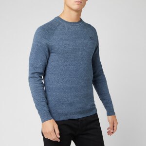 Superdry Men's Orange Label Cotton Crew Neck Jumper - Buck Blue Grindle