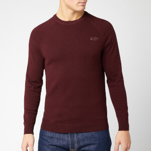 Superdry Men's Orange Label Cotton Crew Neck Jumper - Buck Burgundy Grit