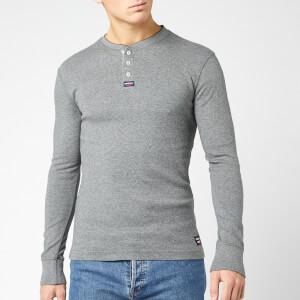 Superdry Men's Heritage Long Sleeve Grandad Top - Carbon Grey Feeder