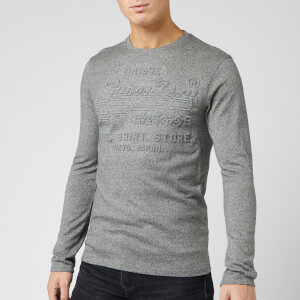 Superdry Men's Shirt Shop Embossed Long Sleeve T-Shirt - Jasper Grey Black Twist Grit