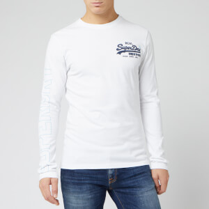 Superdry Men's Vintage Logo Linear Long Sleeve T-Shirt - Optic