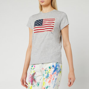 Polo Ralph Lauren Women's Flag T-Shirt Short Sleeve Knit Top - Cobblestone Heather