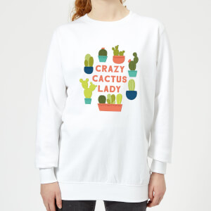 Crazy Cactus Lady Women's Sweatshirt - White