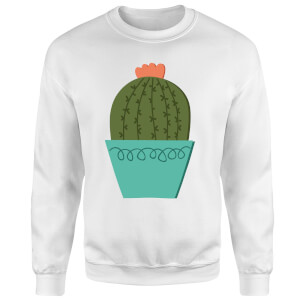 Cactus With Flower Sweatshirt - White