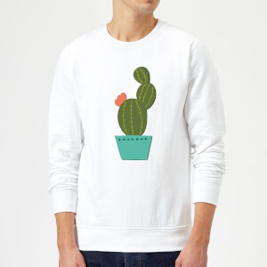 Single Potted Cactus Sweatshirt - White