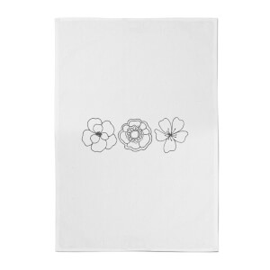 Hand Drawn Flowers Cotton Tea Towel
