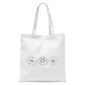 Hand Drawn Flowers Tote Bag - White