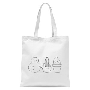 Hand Drawn Cacti Tote Bag - White