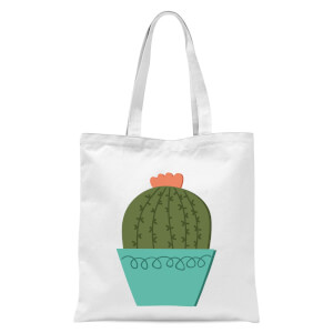 Cactus With Flower Tote Bag - White